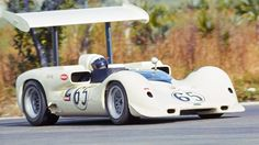 Hap Sharp at the controls of Chaparral 2E-001 during the 1966 Nassau Trophy race. Sharp won pole, but could not start the engine on the LeMans type start. He was the last car away, nearly a lap down. Yet, he had worked his way up to third when a wing failure sent the 2E off track, broadside into a tree. The Chaparral was wrecked beyond repair, but sharp was uninjured. Despite the crash, he was still classified 4th overall based upon laps completed. della Faille photo, repaired and restored.