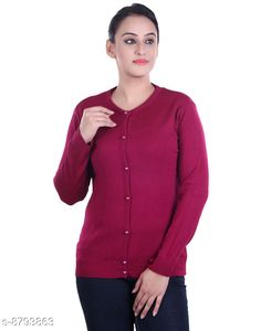 Checkout this latest Sweaters Product Name: *Ogarti woollen full sleeve round neck Magenta Women's  Cardigan* Fabric: Acrylic Pattern: Solid Multipack: 1 Sizes:  M (Bust Size: 17 in, Length Size: 22 in, Waist Size: 16 in, Hip Size: 17 in, Shoulder Size: 13 in)  L (Bust Size: 18 in, Length Size: 23 in, Waist Size: 17 in, Hip Size: 18 in, Shoulder Size: 13 in)  XL (Bust Size: 19 in, Length Size: 24 in, Waist Size: 18 in, Hip Size: 19 in, Shoulder Size: 14 in)  Easy Returns Available In Case Of Any Issue   Catalog Rating: ★3.9 (414)  Catalog Name: Comfy Partywear Women Sweaters CatalogID_1504114 C79-SC1026 Code: 944-8793863-9911