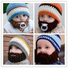 Recién nacido del bebé del ganchillo barba gorras del bebé del sombrero del bebé sombrero barba Boy Outfit Boy accesorios hechos a mano sombrero barbudo Beanie
