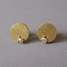 Earrings - Yellow Gold 750, Diamonds in Spirit Diamond Cut Batho Gündra