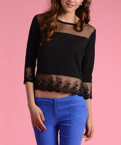 Another great find on #zulily! Black Semi-Sheer Lace Three-Quarter Sleeve Top #zulilyfinds