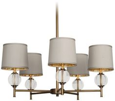 Latitude Aged Brass with Clear Glass Robert Abbey Chandelier - #EU1C631 - Euro Style Lighting