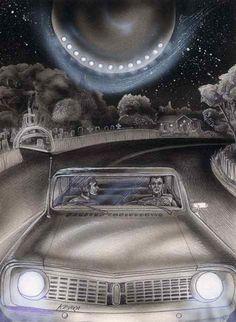 ufo in graveyard