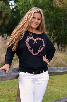 Antler Heart off shoulder longsleeve