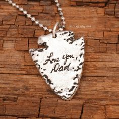 Custom sterling silver double-sided finger print and handwriting memorial arrow head pendant.