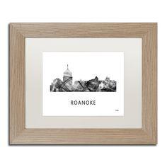 Marlene Watson 'Roanoke Virginia Skyline WB-BW' Matted Framed Art