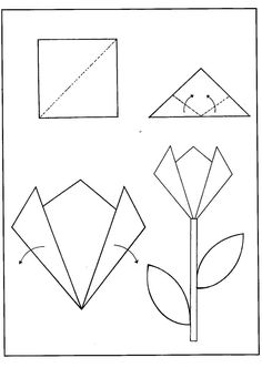 Diy Origami, Paper Crafts Origami, Origami Instructions For Kids, Construction Paper Flowers, Diy For Kids, Crafts For Kids, Paper Flowers For Kids, Rainbow Paper, Easter Art