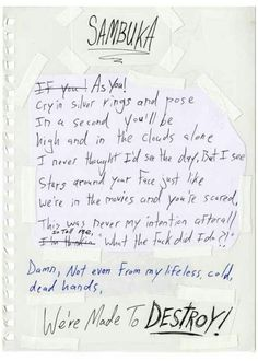 Misadventures _ Handwritten lyrics from Vic Fuentes Track 10. Sambuka
