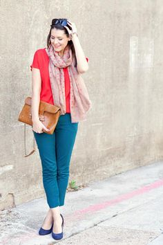 Red + Teal + scarf