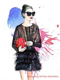 Custom illustration illustration for by RongrongIllustration, $100.00 #fashionillustration #illustration #fashionblogger #Wendy'slookbook