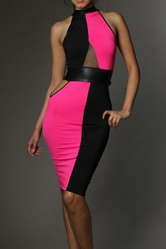 Two Toned Colorblock Mesh Insert Side Cutout Mock Neck Dress - See more at: http://www.pinkclubwear.com/