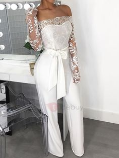 Ericdress Sexy Lace Off-Shoulder Full Length High Waist Slim Jumpsuit Overall, Lace Bodice, Buy Dress, Jumpsuits For Women, Fashion Dresses, Fashion Clothes, Clothes For Women, Sexy, Fashion Trends