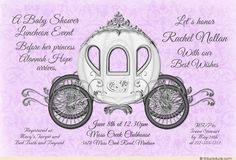 Lavender Damask Baby Princess Fairytale Luncheon Card