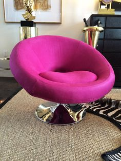 Fuschia swivel chair before and after vintage makeover