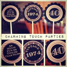 Custom Modern and Maculine 40th birthday by CharmingTouchParties, $21.00