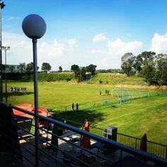 My football club's beautiful field.  #prodirectsoccer #football #soccer #stadium #green #grass #perfect #pitch #beatiful #clouds #sky