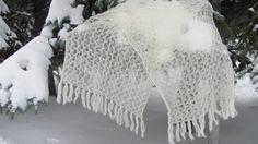 Wedding shawl knit shawl white scarf white shawl by rulentus