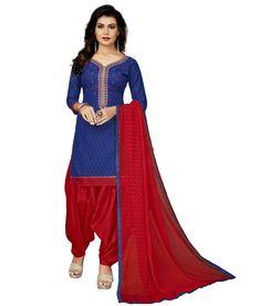 50d206e7319 STYLEELITE Cotton Floral Dress Material - Blue