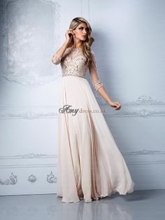 Online Shop 2015 New Arrival Beige Long Chiffon Beading Crystal Prom  Dresses Party Formal Gown Sleeves Evening Dress 41f66b235