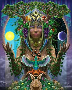 Painting - Goddess Of The Living World by Cristina McAllister , Amazonian Warrior, Mother Nature Tattoos, Earth Goddess, Child Of Light, Visionary Art, Sacred Art, Nature Paintings, Psychedelic Art, Gaia