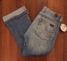 7FAM Seven 7 For all Mankind Womens Sz 27 'A' Pocket Crops in WIndsor Capri Pink…