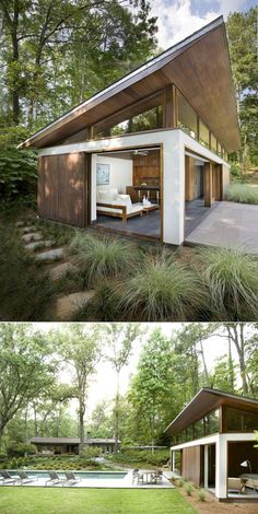 Container House - CONTAINERS: Tiny modern guest house and pool (Dunway Enterprises) clickbank. Who Else Wants Simple Step-By-Step Plans To Design And Build A Container Home From Scratch? Modern Tiny House, Tiny House Design, Modern House Design, Modern Small House Design, Big Pools, Swimming Pools, Casas Containers, Building A Container Home, Container Homes