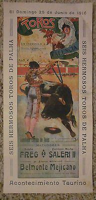 TOROS Vintage Spanish Bullfighting Poster Lithograph JUNE 1916 VALENCIA