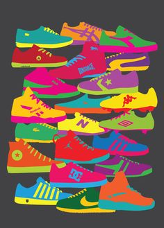"""Sneakers"" - Numbered Art Print by yoni alter on Curioos Glen Gould, Number Art, Sneaker Art, Ecole Art, Cg Art, Canvas Prints, Art Prints, Art Graphique, Art Plastique"