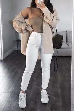 Trendy Fall Outfits, Baddie Outfits Casual, Winter Fashion Outfits, Cute Casual Outfits, Simple Outfits, Look Fashion, Pretty Outfits, Stylish Outfits, Long Shirt Outfits