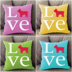 Yorkie LOVE pillow. Offered in multiple colors and 50+ dog breeds. Cover is machine washable and Made in USA.