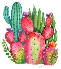 watercolor bright Cactus garden no. Original watercolor bright Cactus garden no. Original watercolor bright Cactus garden no. Deco Cactus, Cactus Decor, Cactus Art, Cactus Flower, Cactus Plants, Cacti, Small Cactus, Watercolor Succulents, Watercolor Cactus