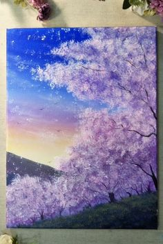 aesthetic painting canvas Painting a Cherry Blossom Tree with Acrylics in 10 Minutes! Small Canvas Art, Diy Canvas Art, Acrylic Painting Canvas, Simple Acrylic Paintings, Easy Paintings, Tree Painting Easy, Night Sky Painting, Acrylic Painting Lessons, Acrylic Painting For Beginners