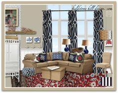 Preppy Family Room Design by Fieldstone Hill Design. com