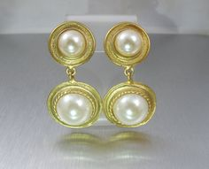 Bridal Pearl Earrings Gold Pearl Dangle Clip by TonettesTreasures