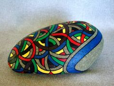3d Abstract Art, Hand Painted Rock, OOAK, Unique, Home Decor or Office Decor, Conversation Piece, Collectible via Etsy