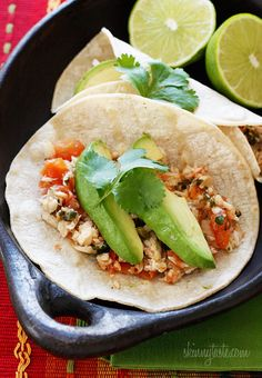 Cilantro Lime Tilapia Tacos | Skinnytaste Not my fave. subbed sriracha sauce for jalapenos and sour cream for avocado