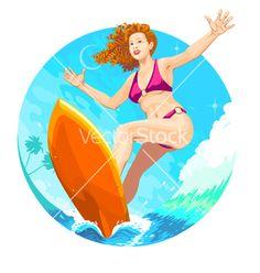 Surfer girl vector