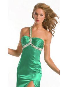Mermaid Front Slit Pleats Green Prom Dress