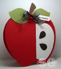 Make an apple card to give to a teacher as a gift. Very cute! back to school card