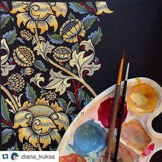 Wow impressive Artwork by @diana_kuksa - Talent Pool #inspiringpieces  #ornament #williammorris #copy#pattern #gouache #painting #art #artist #artwork #draw #drawing #dailyart #dailysketch #diana_kuksa #illustrator #flowers #flower #sketch