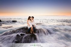 love the waves-----Gorgeous Orange County Sunset Engagement | Ben and Courtney