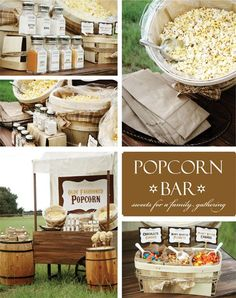 Popcorn bar- could be turned into a make your own crazy popcorn class? in a flex room w/ pop corn truck. (stellas?)