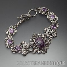 GORGEOUS 925 SILVER CHAROITE & AMETHYST SWIRLS BEADS ORNATE TOGGLE BRACELET #Statement