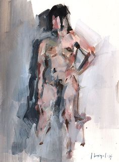 Original 9x12 Female Nude Figure Painting Sketch by lloydgallery