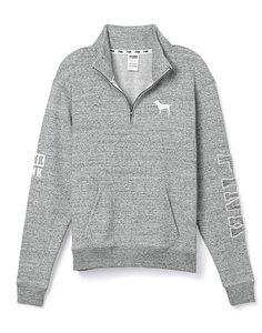 Victorias Secret PINK Boyfriend Half-Zip Size Extra Small $49.95 Grey