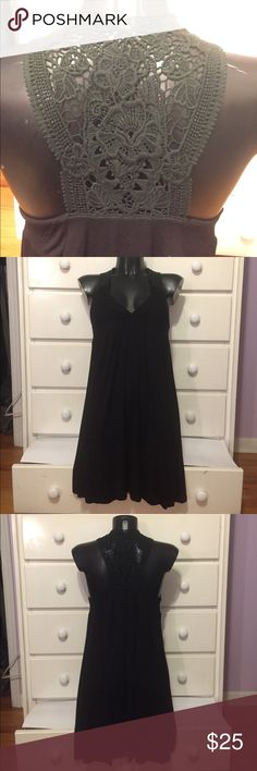 """Black Dress with Lace Detailed Back In good used condition. Has such cool back detailing. Length is 33.5"""". Make an offer! 😊 Lush Dresses"""