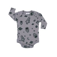 Space Print Onesie, Long Sleeve, Slate Grey
