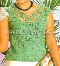 TRI CRO DA TUKA: blusa bb/crochê