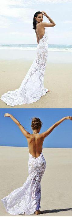 Beach Backless Sexy Mermaid Lace White Open Back Halter V-Neck Summer Wedding Dress,#BeachBridalDress,#Princessweddinggown