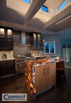 This Ious Kitchen Features A Unique Back Lit Counter Top Designed And Built By